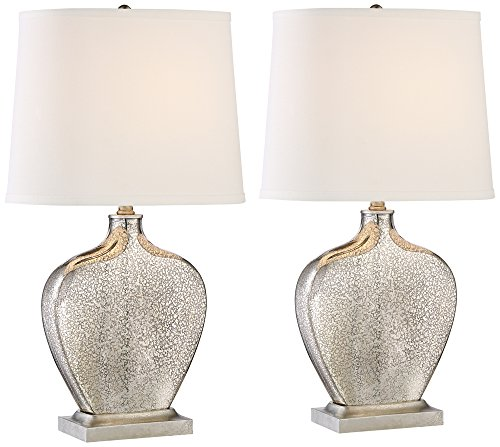 Set of 2 Axel Mercury Glass Table Lamps (Contemporary Buffet Lamps)