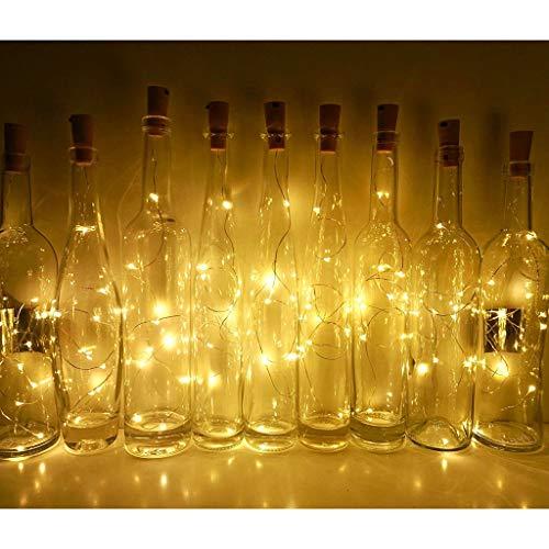 MaxFox 15PCS Bottle Lights,1M LED Strip Lamp Shape for Cork Wine Bottle String Party Romantic Decor (Color:Warm -