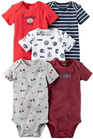 Carter's Baby Boys' 5 Pack Bodysuits (Baby) Sports/Hunk, 3 Months