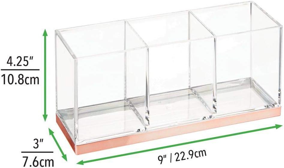 mDesign grande boite maquillage en plastique avec 3 compartiments organisateur maquillage de forme rectangulaire transparent//couleur or rouge boite de rangement maquillage