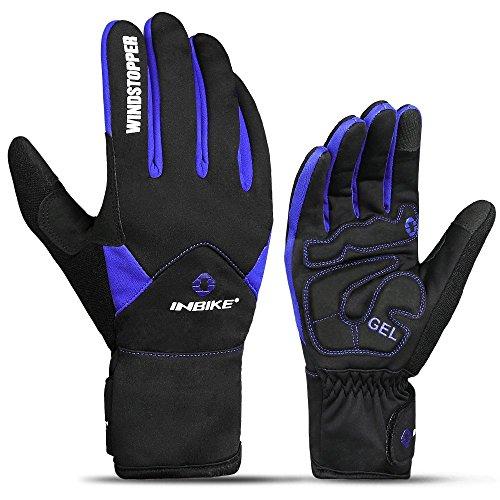 INBIKE Men's Winter Cold Weather Thermal Windproof Gel Bike Gloves Blue Large - Thermal Riding Gloves