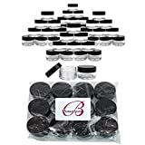 Beauticom 20 gram/20ml Empty Clear Small Round Travel Container Jar Pots with Lids for Make Up Powder, Eyeshadow Pigments, Lotion, Creams, Lip Balm, Lip Gloss, Samples (48 Pieces, Black)