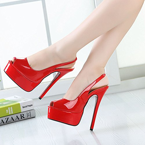 fereshte Stiletto and High Women's Men's Patent Red Dress Peep Heel Party Openback Pump Platform Comfort Toe r7rOwx