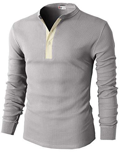 H2H Men's Henley Shirt Casual Long Sleeve Button T-Shirt Gray US 2XL/Asia 3XL (CMTTL045)