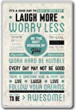 Laugh More Worry Less… – motivational inspirational quotes fridge magnet