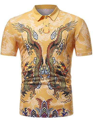 (ZEROYAA Men's Hipster Chinese Dragon Pritned Slim Fit Short Sleeve Polos Z83-PL03 Medium)