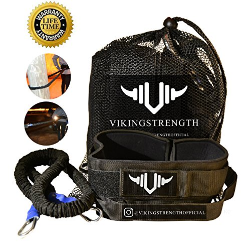 Vikingstrength - 360° Resistance Running Training Bungee Band (Waist) & Workout Guide Speed, Fitness Agility – Gym Equipment for Football, Basketball, Crossfit, Solo or Partner by Vikingstrength