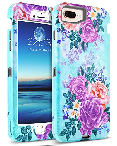 GUAGUA Case iPhone 8 Plus Case iPhone 7 Plus Peony Floral Hybrid Three Layer Hard PC Cover Soft Bumper Heavy Duty Shockproof Protective Durable Phone Case for iPhone 8 Plus/7 Plus(5.5 inch) Mint Green