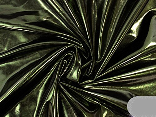 [Spandex Solid Metallic Fabric Sold By The Yard (15 Colors Available) (Dark Moss Green)] (Aerobics Costume Designs)