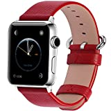 Apple Watch Bands 38mm, Fullmosa Yan Series Lichi Calf Leather Strap Replacement Band with Stainless Metal Clasp for iWatch Series 0 1 2 and Version 2015 2016, Red