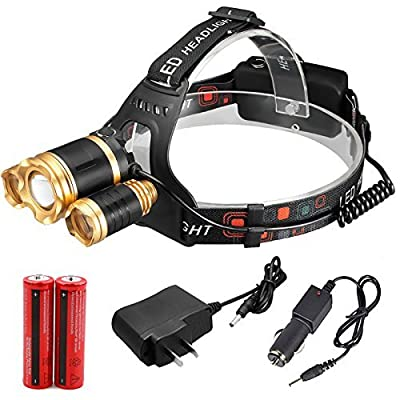 30000 lumens Headlamp Zoom Cree 3X XML T6 Led Torch Lamp Head Light 18650 Battery Outdoor