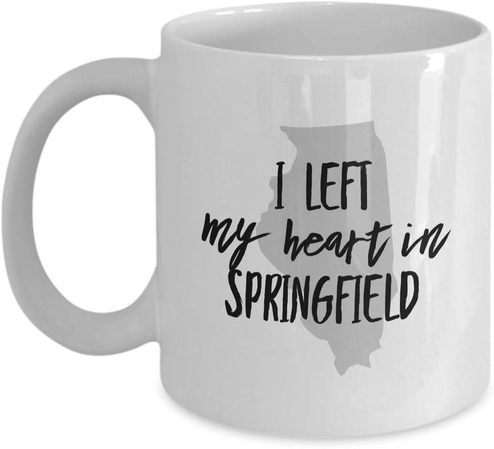 Tazas de café para cualquier recuerdo de los Estados Unidos Illinois 'Dejé mi corazón en Springfield' Para feliz cumpleaños, aperitivo, jubilación, regalos de agradecimiento, 11 oz de cerámica