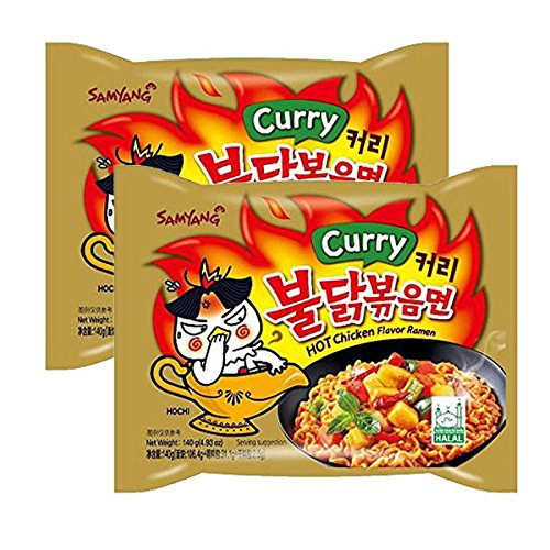 ([ 2 Packs ] NEW Samyang Hot chicken Curry flavor ramen Halah 4.93 oz (140g))
