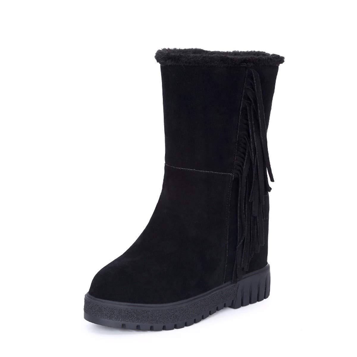 KPHY Damenschuhe Die Innere Größe Stiefel Heel 10Cm Samt Warm Stiefeln Fass Quasten Baitie Martin Stiefel Baumwolle Schuhe