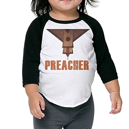 Grace Little Preacher Cool Boys & Girls Toddler 100% Cotton 3/4 Sleeve Raglan T-Shirts Unisex Black -