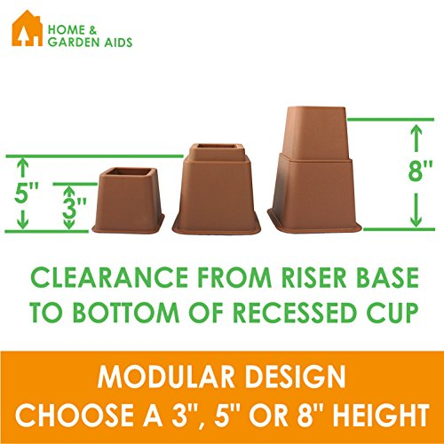 Brown Adjustable Bed or Furniture Riser to 8, 5 or 3 Inches in Height, Heavy Duty, Set of 4 by Home & Garden Aids