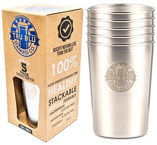 tru-blu-12oz-stainless-steel-cups-5-pack-great-for-kids-premium-stackable-unbreakable-metal-pint-gla