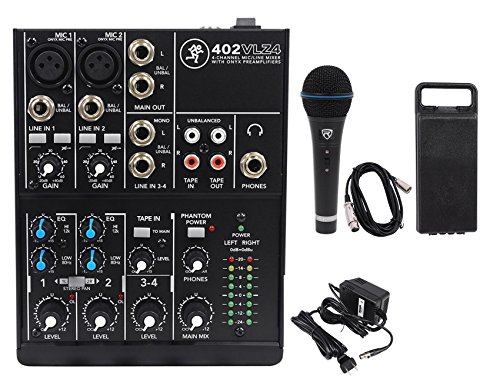 Mackie 402VLZ4 4-channel Compact Mixer w/ 2 ONYX Preamps+Microphone+XLR Cable (Mackie Power Amps)