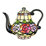FBOSS Tiffany Style Rose Teapot Beside Table Lamp Handmade Stained Glass Desk Lamp Light Decoration Bedroom Children's Lamp Christmas Mother's Day Gift Night Light