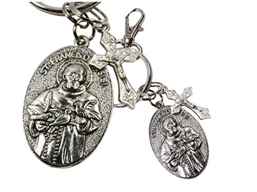 - Saint Francis and Pope Francis Double Sided Silver Oxidized Medal Keychain Zipper Pull with Lobster Clasp and Dangling Crucifix