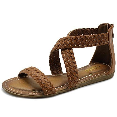 Ollio Women's Shoe Cross Braided Multi Color Flat Sandal