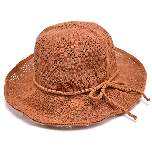 (accsa Women UPF30+ Brown Foldable Packable Summer Straw Bucket Hat Sun Protection)