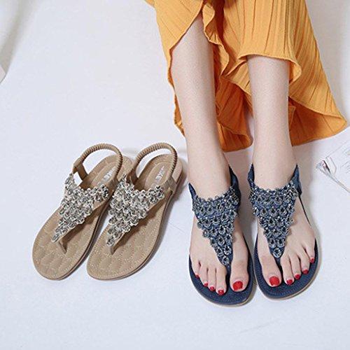 Frauen Böhmen Slippe Sandalen Toe Gelb Peep Lady Flache hunpta Schuhe Perle Schuhe Outdoor TIxw6AAdq