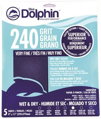 9 x 11 Sheets 240 Grit 5 Pack LINZER SP SC9115 0240 Blue Dolphin Wet /& Dry Silicon Carbide Sanding Paper