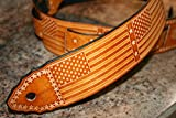Leather Guitar Strap - Adjustable, hand tooled Old Glory - American Flag - Custom Handmade