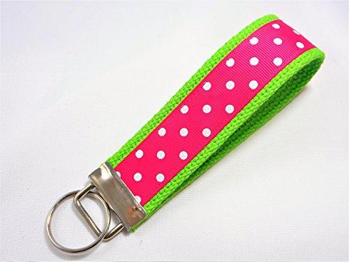 Preppy Dots Ribbon Wristlet Key Fob Keychain Shocking