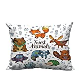 RuppertTextile Personalized Pillowcase Set of Cute Woodland Animals Tribal Nature Elements Kids Room Nursery Wall Art Machine washableW19 x L19