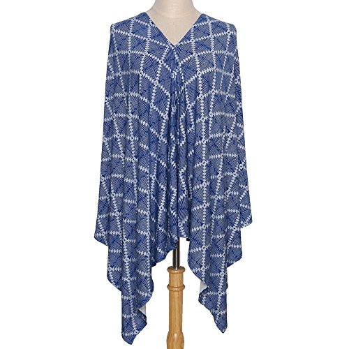6-in-1 Breastfeeding Nursing Cover Poncho, Infinity Scarf, Car Seat or Stroller Canopy, Baby Blanket - Navy Blue Aztec