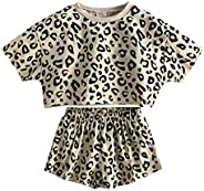 KIDS TALES 2Pcs Girls Summer Outfits Set Cute Short Sleeve Sweatshirt + Shorts