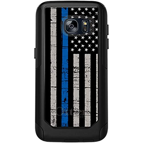 CUSTOM Black OtterBox Commuter Series Case for Samsung Galaxy S7 - Weathered Thin Blue Line Sales