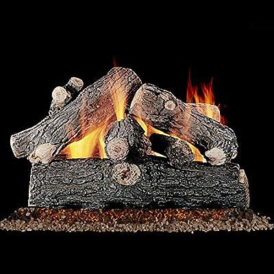 Rasmussen Juego de troncos de gas de roble con válvula de ventilación de 18 pulgadas, con quemador de sartenes de propano personalizable – Mando a distancia ...