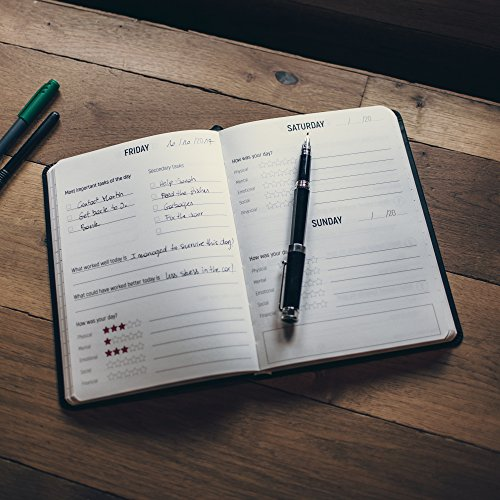 6M Goals Planner - Beautiful Undated Agenda - Daily and Weekly Journal to Achieve Goals and Increase Productivity and Happiness. Black A5 Hardcover. Photo #5