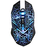 GranVela® M639 Programmable 4000 DPI High Precision USB Wired Gaming Mouse,6 Buttons,With 5 Color LED Lights (Crack Black)