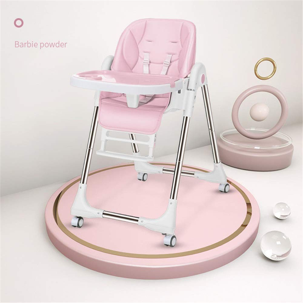 完璧な調節可能なベビーハイチェア 子供の世話をするのに良いアシスタントベビーブースターシートハイチェアポータブルキッズディナーチェアートレイ給餌プレートテーブル滑り止め金庫快適で調節可能な高さ折りたたみ式給餌赤ちゃん用幼児子供 (色 : ピンク)  ピンク B07QY67NYY