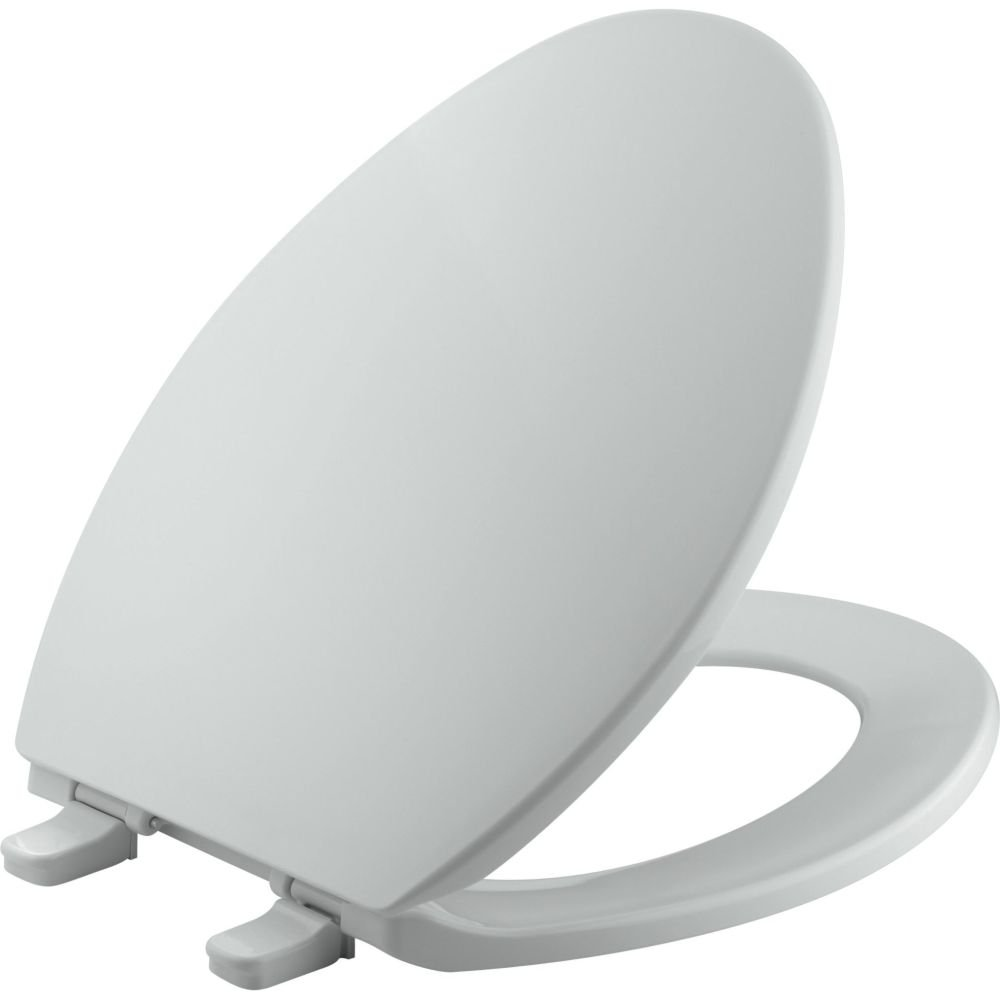 KOHLER K-4774-95 Brevia with Quick-Release Hinges Elongated Toilet Seat, Ice Grey