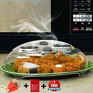 Microwave Anti-Sputtering Cover by Erd Kitchen - Magnetic Microwave Splatter Lid with Steam Vents - 2 Great Bonuses: Microwave Potato Cooker & Heat Resistant Cooking Pinch Mitts