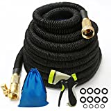 Iserlohn 50ft Strongest Expandable Garden Hose with 8 Pattern Spray Nozzle and 12 Pack Washer, Kink-Free Water Hose with Durable Triple Layer Latex Core, Copper Fitting, Black