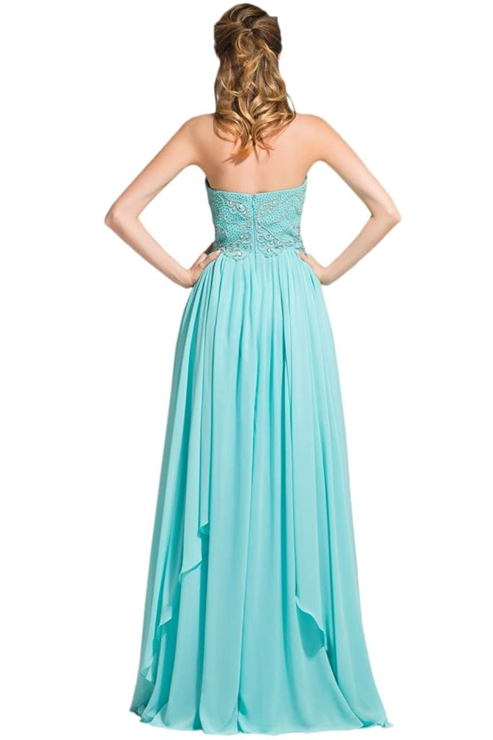 Sunvary Elegant Sweetheart Chiffon Women Pageant Prom Dresses Two Layered Ruffled