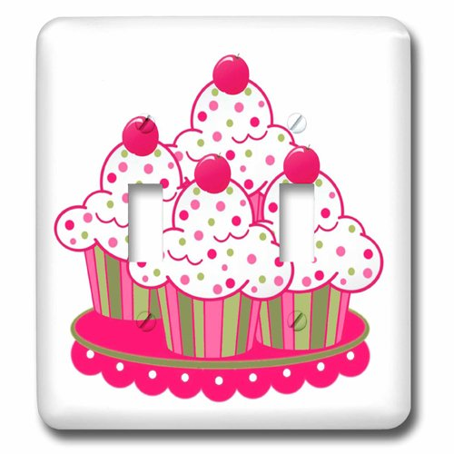 (3dRose lsp_151878_2 Peppermint Cupcakes - Double Toggle Switch)