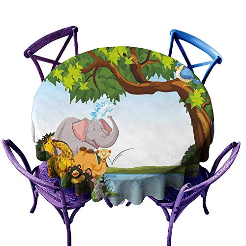 Kids Wrinkle Resistant Tablecloth Various Cartoon Style Animals Together by River Bank Tree Bird Cute Funny Wildlife Indoor Outdoor Camping Picnic D63 ()
