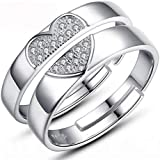 925 Sterling Silver Fashion Heart Shining Diamond Wedding Gift Adjustable Open Couple Ring Set for Female and Male cr25