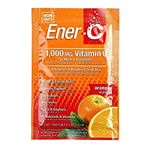 Ener-C – Vitamin C Immune Support, 1000mg Vitamin C Effervescent Multivitamin Drink Powder, Fruit Juice Vitamin C Drink Mix for Hydration with Electrolytes, Orange, 30 Packets