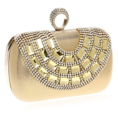 bag Evening Luxury Fashion Color encrusted Lady Diamond Bag Fly Luxury Bag New Gold Bag evening Clutch Banquet Gold Evening Wild XavTqwO