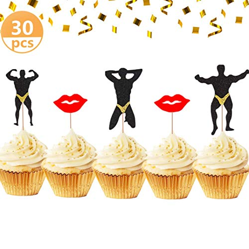 JeVenis Set of 29 Bachelorette Party Cupcake Toppers
