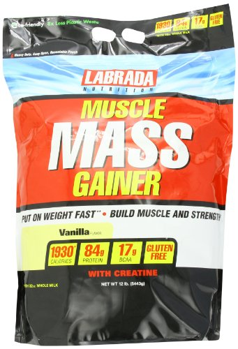 Labrada Nutrition Muscle Mass Gainer, Vanilla, 12 Pound