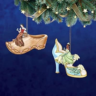 The Bradford Exchange Disney Once Upon a Slipper Ornament Set #10 Snow White and Tiana